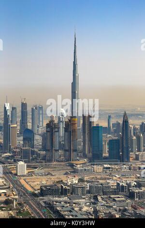 Dubai Burj Khalifa building Downtown vertical aerial view photography UAE - Stock Photo