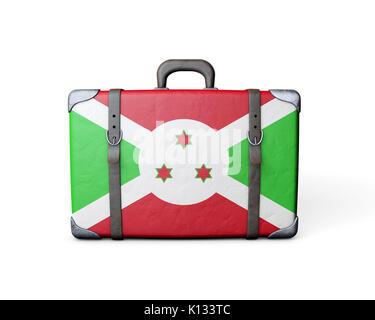 Burundi flag on a vintage leather suitcase. 3D Rendering - Stock Photo