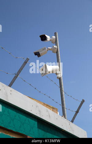 August 2017, Southend On Sea, Essex, England, Security on building site - Stock Photo