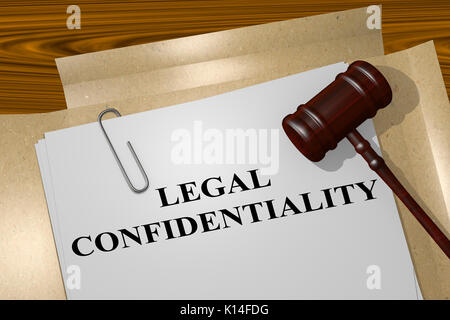3D illustration of 'LEGAL CONFIDENTIALITY' title on legal document - Stock Photo