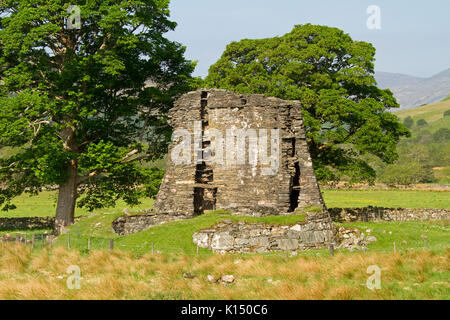 Ancient Dun Telve broch, Iron Age roundhouse, in colourful landscape with trees and hills under blue sky near Glenelg, - Stock Photo