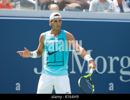 Rafael Nadal of Spain practice preparing for main US Open 2017 championship (Photo by Lev Radin / Pacific Press) - Stock Photo