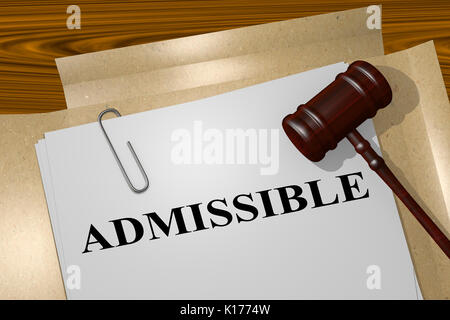 3D illustration of 'ADMISSIBLE' title on Legal Documents. Legal concept. - Stock Photo