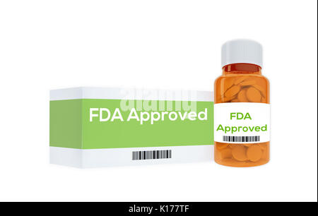 3D illustration of 'FAD Approved' title on pill bottle, isolated on white. Medication concept. - Stock Photo
