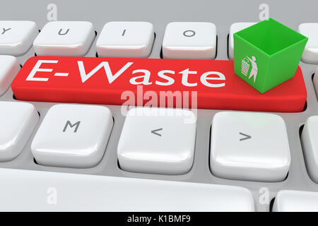 Render illustration of computer keyboard with the printE-Waste on a red button, and a waste can on that button. - Stock Photo