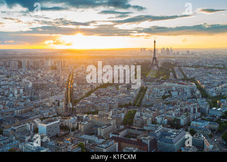 Eiffel Tower rooftop view with at sunset in Paris, France. - Stock Photo