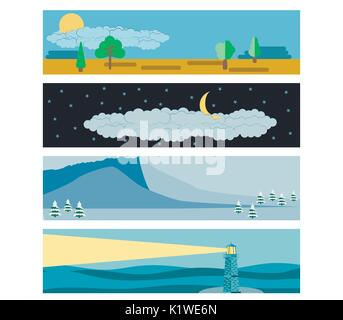 Set in a flat landscape style. Snow-capped mountains, a lighthouse in the sea, day and night. Vector illustration. - Stock Photo