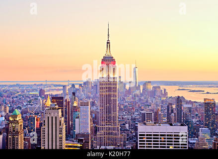 New York City Skyline Top of the Rock Aerial Empire State Building - Stock Photo