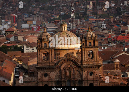 Bell towers of Iglesia de la Compania (built 1605-1765), Plaza de Armas, Cusco, Peru, South America - Stock Photo