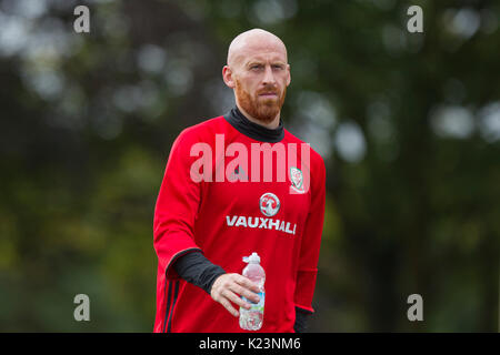 Hensol, Wales, UK, 29th August 2017. James Collins arrives for Wales national team training ahead of the World Cup - Stock Photo