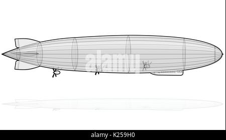 Legendary huge zeppelin airship filled with hydrogen. Outlined stylized flying balloon. Big dirigible, propellers, - Stock Photo