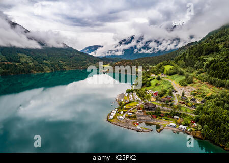 Beautiful Nature Norway natural landscape. Aerial view of the campsite to relax. Family vacation travel, holiday - Stock Photo
