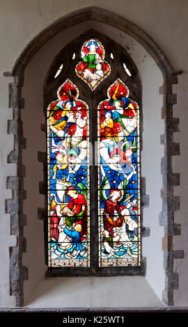 Memorial stained glass window in St Nicholas, New Romney.  To the crew & passengers of the Northfleet that sank - Stock Photo