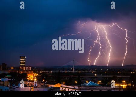 Lightning storm over city of Badajoz, Extremadura, Spain - Stock Photo