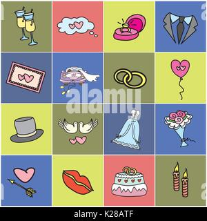 Colored icon set - Wedding, marriage, bridal. Hand drawn vector - Stock Photo