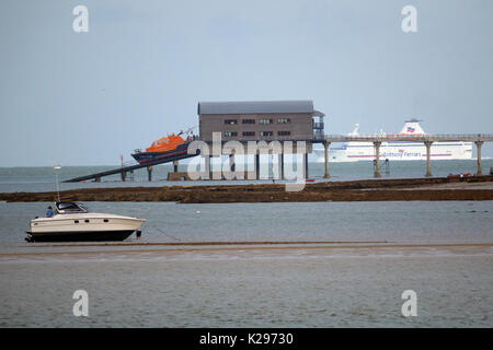 Tamar Class, Lifeboat, being, launched, recovered, from sea, Bembridge, Lifeboat Station, Isle of Wight, UK, - Stock Photo