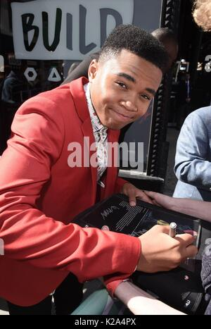 New York, NY, USA. 30th Aug, 2017. Chosen Jacobs, out promoting his new film IT out and about for Celebrity Candids - Stock Photo
