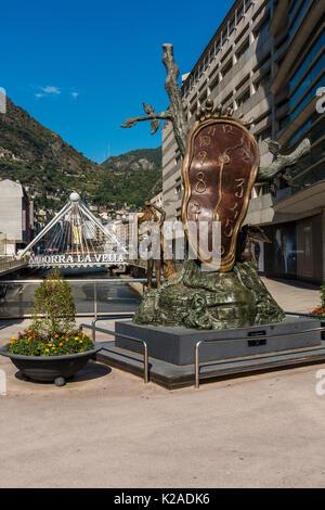 "The bronze ""Nobility of Time sculpture"" by Spanish artist Salvador Dali, Andorra La Vella, Andorra - Stock Photo"