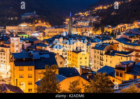 City skyline at night, Andorra La Vella, Andorra - Stock Photo