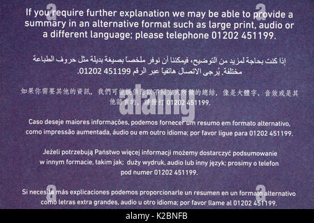 Detail on correspondence from Bournemouth Council about recycling in many different languages multi-languages - Stock Photo