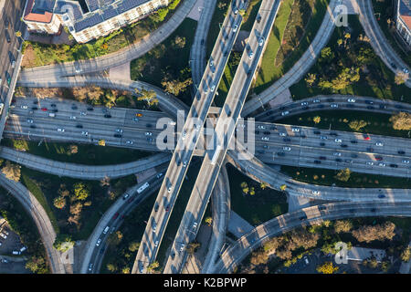 Los Angeles Harbor 110 and Hollywood 101 downtown four level freeway interchange in Southern California. - Stock Photo