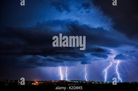 Lightning storm over city at night, Pretoria, South Africa December 2013 - Stock Photo