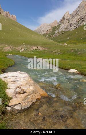 River at Tash Rabat, Kyrgyzstan. August 2016. - Stock Photo