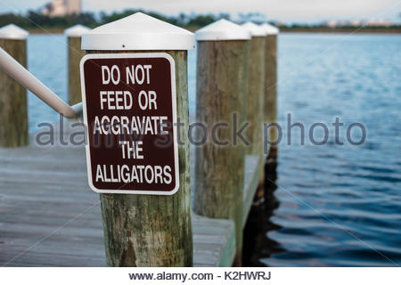 Sign on the dock at Gulf State Park, Gulf Shores, Alabama, advising everyone to leave the alligators alone - Stock Photo