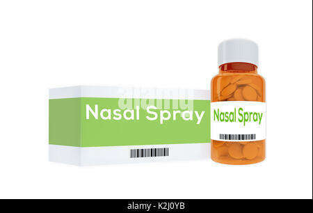 3D illustration of 'Nasal Spray' title on pill bottle, isolated on white. - Stock Photo