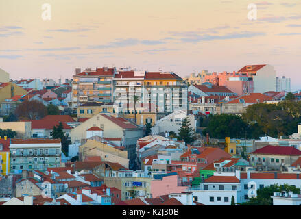 Twilight view of Old Town architecture of Lisbon. Portugal - Stock Photo