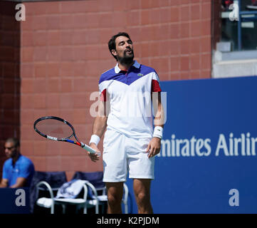 New York, United States. 30th Aug, 2017. Jeremy Chardy of France reacts during match against Gael Monfils of France - Stock Photo