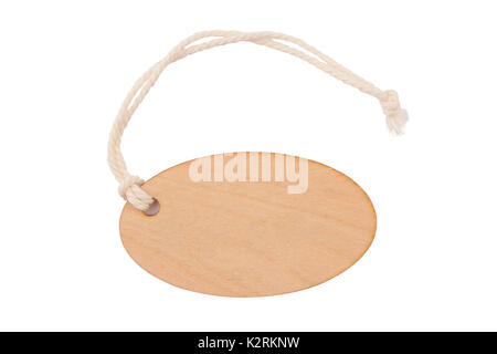 top view of empty wooden seal swing tag with fiber thread and copyspace isolated on white background - Stock Photo