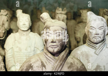 Close-ups of the famous Terra Cotta Army during a travelling  exposition in Palma de Mallorca. - Stock Photo
