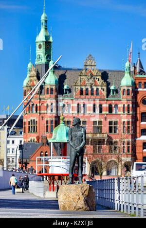 Stoertebeker monument of Hansjoerg Wagner in the harbour city of Hamburg, Germany, Europe, Stoertebeker-Denkmal - Stock Photo