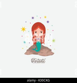mermaid fantastic character in a rock with colorful sparks and stars on white background - Stock Photo