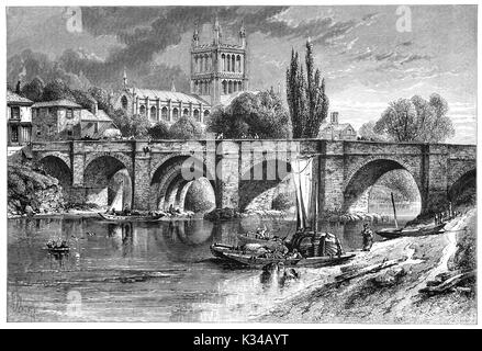 1870: River activities on the River Wye below the Wye Bridge with Hereford Cathedral beyond. It dates from 1079 - Stock Photo