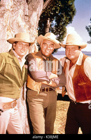 BONANZA MICHAEL LANDON, LORNE GREENE, DAN BLOCKER - Stock Photo
