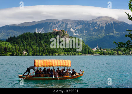 Traditional Pletna boat with colorful canopy on Lake Bled with Bled castle on cliff and St Martin church Sol massive - Stock Photo