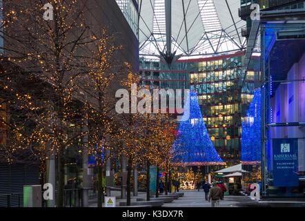 Christmas in the Sony centre on Potsdamer Platz (Potsdam square), Berlin, Germany, - Stock Photo