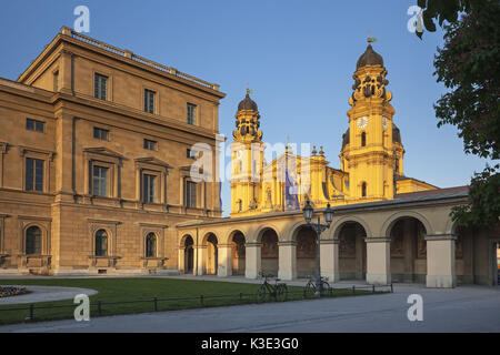Theatinerkirche St. Kajetan of the court garden, Munich, Kreuzviertel, Upper Bavaria, Bavaria, Germany, - Stock Photo