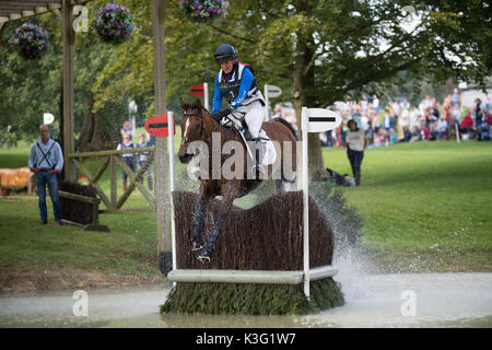 Stamford, Lincs, UK. 02nd Sep, 2017. Kristina COOK riding Star Witness in Burghley horse trials cross country day - Stock Photo