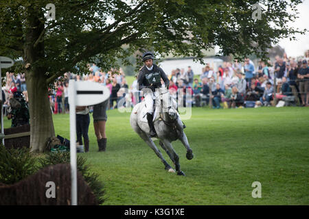 Stamford, Lincs, UK. 02nd Sep, 2017. Harry Dzenis riding Xam at landrover Burghley Horse trials cross country event - Stock Photo