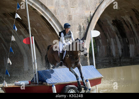 Stamford, Lincs, UK. 02nd Sep, 2017. Lynn Symanski riding Donner at landrover Burghley Horse trials cross country - Stock Photo