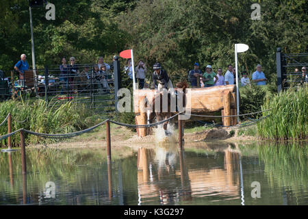 Stamford, Lincs, UK. 02nd Sep, 2017. Andrew Nicholson riding Nereo at landrover Burghley Horse trials cross country - Stock Photo