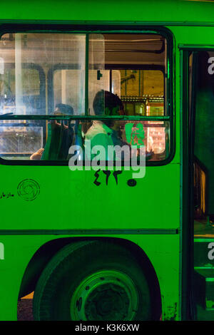 Iran, Southeastern Iran, Kerman, detail of public bus - Stock Photo