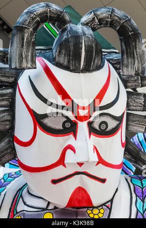 Japan, Hoshu, Tokyo, Asakusa, Nebuta Festival, Giant Kabuki Actor Face - Stock Photo