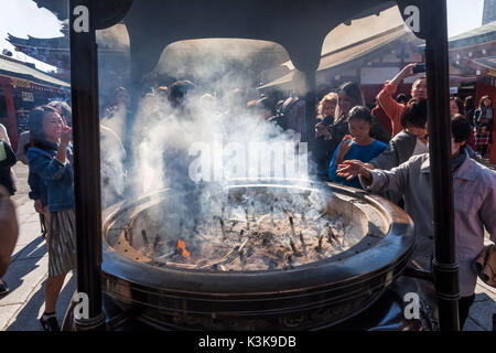 Japan, Hoshu, Tokyo, Asakusa, Asakusa Kannon Temple aka Sensoji, Giant Incense Burner - Stock Photo