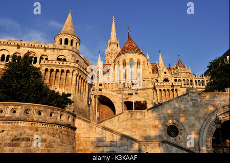 Hungary, Budapest, Fisherman's Bastion and Mathias Church located in the historical Buda Castle district listed - Stock Photo