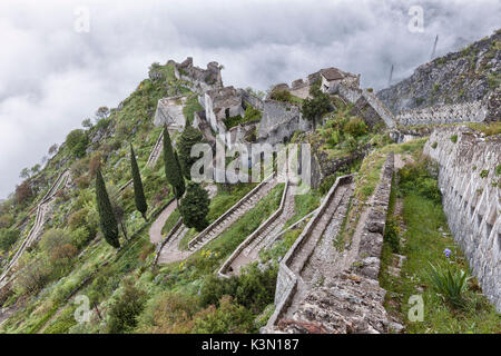 The fortification of Kotor, Montenegro, view from above. - Stock Photo