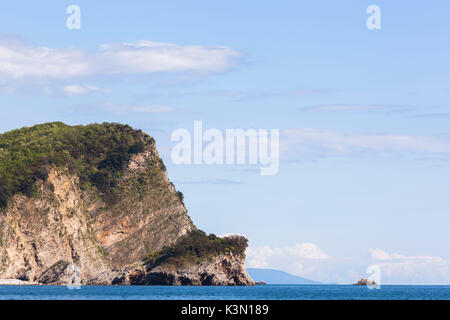 Europe, Montenegro, the Sveti Nikola island located opposite to the beach of Budva - Stock Photo